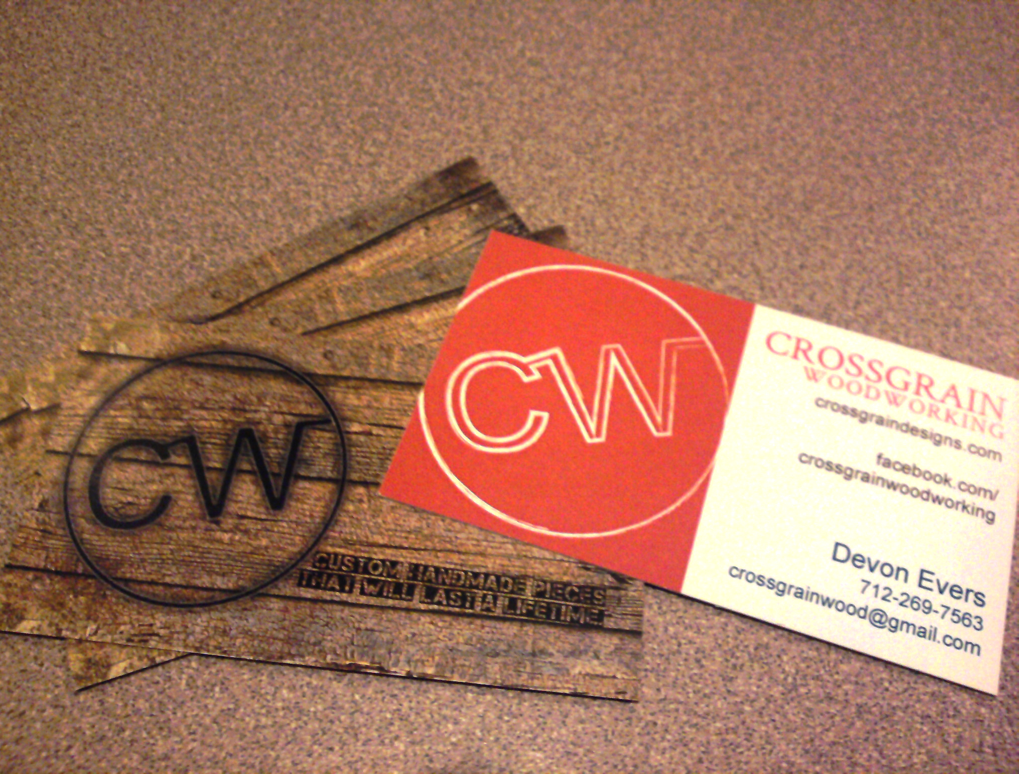 Crossgrain Woodworking Business Cards